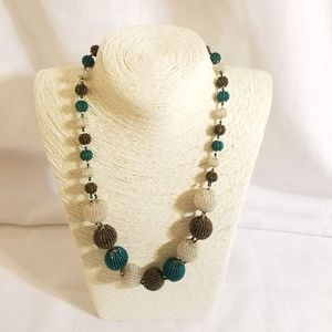 Chic Beaded Statement Necklace Artisan NEW